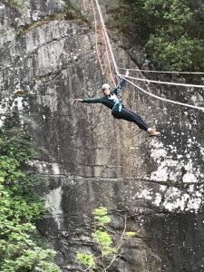 Heather Petrie from Bolt Burdon Kemp on a zipwire