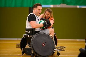 Ben Pepper and Jessica Standley playing wheelchair rugby